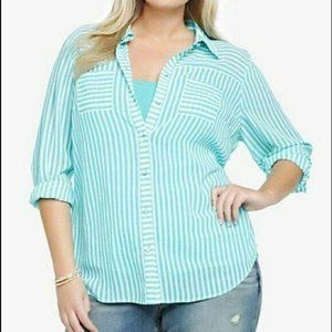 Torrid Aqua Striped Chiffon Top, Size 0